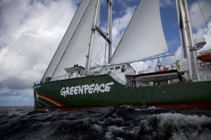 Rainbow Warrior ship navigates in the ocean close to Pará state.